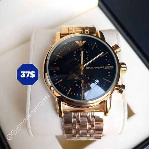 montre Emporio armani doré tableau noir chronograph